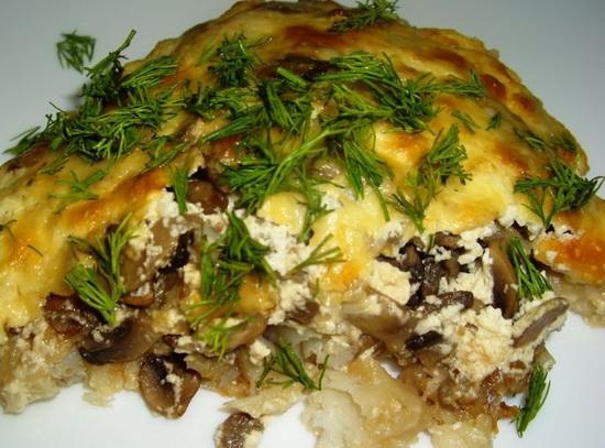 Судак с помидорами грибами сыром 4
